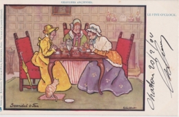 Bt - Cpa Illustrée Raphael Tuck - Le Five O'Clock - Scandal & Tea (un Mot à La Poste) - Tuck, Raphael