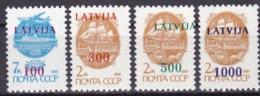Lettland, 1991, 313/16 ,Freimarken: Sowjetunion Mit Farbigem Bdr.-Aufdruck,  MNH ** - Latvia