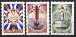 Lettland, 1993, 348/50, Freimarken: Sowjetunion  Mit Violettem Bdr.-Aufdruck.  MNH ** - Latvia