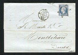 Belle Lettre De Paris Pour Montbéliard ( 1855 ) Avec Un N° 14Af Bleu Laiteux - 1853-1860 Napoleon III