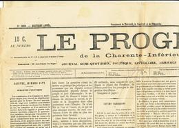 988/28 - Journal Complet Le Progrès De Charente Inférieure - SAINTES Mars 1877 - TP Cérès 4 Centimes Oblitération Typo - Newspapers