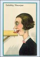 Y4900/ Humor Litho HWB AK Garstige Frau, Mund Angenagelt  Ca.1920  - Humour