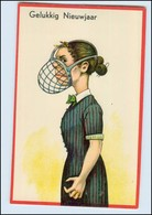 Y4902/ Humor Litho HWB AK Garstige Frau, Mund Mit Maulkorb Ca.1920  - Humour