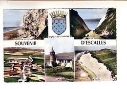 Escalles 5 Vues Et Blason: Cap Blanc Nez , Cran D'Escalles , Vue Générale , L'église , Cap Blanc Nez (Calais Et Boulogne - Francia