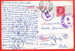 993/28 - Entier Postal Pétain 2 F 40 PARIS 1943 Vers MASERA Italie - Censures Allemandes Et Italiennes - Marcophilie (Lettres)
