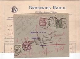 Semeuse / Lettre TAXE AMENDE Loi De 1920 + Retour à L'envoyeur 456 + Griffe Inconnu à L'appel Des Facteurs Besançon 1922 - 1859-1955 Lettres & Documents