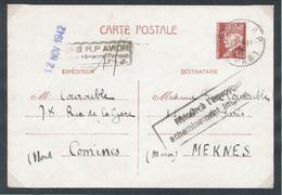 995/28 - Entier Postal Pétain 1 F 20 PARIS 1942 Vers MEKNES Maroc- Surtaxe AVION 1 F 50 - Retour Acheminement Impossible - Marcophilie (Lettres)