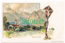498 Otto Strützel Garmisch Dorfbild Künstlerkarte - Other Illustrators