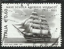 ITALIA REPUBBLICA ITALY 2011 MARINA MILITARE ITALIANA NAVE SCUOLA AMERIGO VESPUCCI USATO USED OBLITERE' - 6. 1946-.. Repubblica
