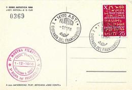 ITALIA - 1968 ASTI 10^ Giornata Del Francobollo Ann. Filatelico + Timbro Circolo Filatelico Su Cartolina Speciale - Francobolli