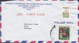 Haiti BANQUE NATIONALE REPUBLIQUE D'HAITI, PORT-AU-PRINCE 1964 Cover Lettre Alphabetisation & Fete Des Meres Timbres - Haiti