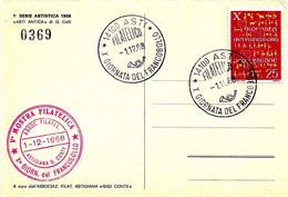 ITALIA - 1968 ASTI 10^ Giornata Del Francobollo Ann. Filatelico + Timbro Circolo Filatelico Su Cartolina Speciale - Buste