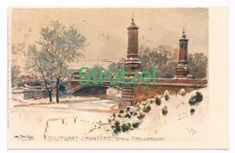 517 Otto Strützel Stuttgart Cannstadt Karlsbrücke Künstlerkarte - Illustrateurs & Photographes