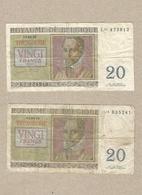 2 Biljetten Van 20 Frank  - 03/04/1956 - [ 2] 1831-... : Royaume De Belgique