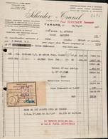 FACTURE SCHEIDER TRUNEL - MANUFACTURE DE DRAPEAUX - TARARE - AUCOURT - SAULIEU - 14 OCTOBRE 1947 - France