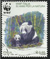 ITALIA REPUBBLICA ITALY REPUBLIC 2016 ANNIVERSARIO DELLA FONDAZIONE DEL WWF PANDA USATO USED OBLITERE' - 6. 1946-.. Repubblica