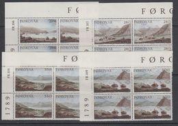 Faroe Islands 1985 Landscape Paintings 4v Bl Of 4 (corners) ** Mnh (42575B) - Féroé (Iles)