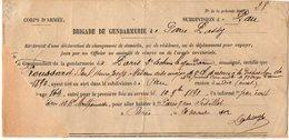 VP14.867 - MILITARIA - PARIS 1902 - Récépissé De La Brigade De Gendarmerie - Mr FROUSSARD Médecin Militaire à PAU - Police