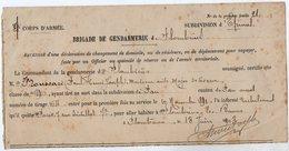 VP14.868 - MILITARIA - PLOMBIERES 1903 - Récépissé De La Brigade De Gendarmerie - Mr FROUSSARD Médecin Militaire à PAU - Police & Gendarmerie