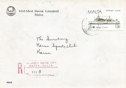 Malta 1987 Marsa Ferry Boat Ship Mid-Med Bank Registered Domestic Cover - Malta