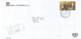 Malta 2000 Zurrieq Harbour Cranes Bank Of Valletta Registered Domestic Cover - Malta