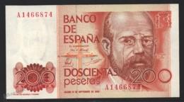 Banknote Spain -  200 Pesetas – September 1980 – Lopoldo Alas Clarin – Serie A – Condition UNC - Pick 156 - [ 4] 1975-… : Juan Carlos I
