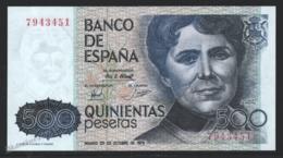 Banknote Spain - 500 Pesetas – October 1979 – Rosalia De Castro, Writer - Condition VF - Pick 157 - [ 4] 1975-… : Juan Carlos I
