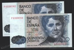Banknote Spain - 500 Pesetas – October 1979 – Rosalia De Castro, Writer - Condition VF - Correlative Pair - Pick 157 - [ 4] 1975-… : Juan Carlos I