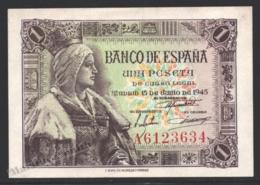 Banknote Spain - 1 Peseta – June 1945 – Queen Isabel La Católica - Serie A - Condition VF - Pick 128a - [ 3] 1936-1975 : Régence De Franco