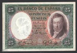 Banknote Spain -  25 Pesetas – April 1931 – Vicente Lopez, Paintor - Condition VF - Pick 81 - [ 2] 1931-1936 : Republiek