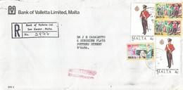 Malta 1989 San Gwann Military Arts Cotton Bank Of Valletta Registered Domestic Cover - Malta