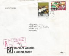 Malta 1982 Sliema Harbour Drydock Wine Bank Of Valletta Registered Domestic Cover - Malta