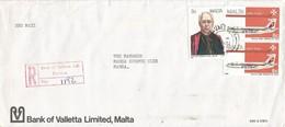 Malta 1988 Floriana Priest Boeing 720B Airplane Bank Of Valletta Registered Domestic Cover - Malta