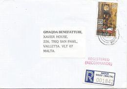 Malta 2000 Nadur Gozo Harbour Cranes Registered Domestic Cover - Malta