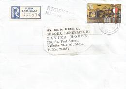 Malta 2000 Sliema BPO Harbour Cranes Registered Domestic Cover - Malta