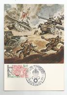 Cpm La Légion étrangère A Bir Hakeim 1943 Carte 1er Jour Cachet Aubagne - Guerra 1939-45