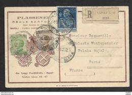 Italie-Carte Recommandée Napoli-Pour Paris - Poststempel