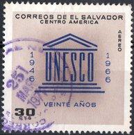 EL SALVADOR, UNESCO, POSTA AEREA, AIRMAIL, 1966, 30 C., FRANCOBOLLO USATO Mi. 926,  Scott C233 - El Salvador