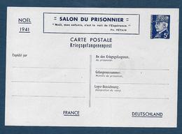 Entier  5 Fr  Pétain - Salon Du Prisonnier - Noel 1941 - Postal Stamped Stationery