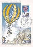 France 1971 Centenaire De La Poste Par Ballons Montes Maximum Card Unused - Cartoline Maximum