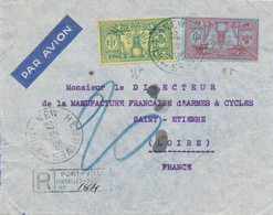 015/29 - NOUVELLES NEW HEBRIDES - Lettre AVION Recommandée Affranchissement MIXTE FR/UK - PORT VILA 1936 - Andere