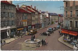 CPSM B80 YSSINGEAUX -commerces-autocar-camions-voitures Des Années 1950-place Mal. Foch-animée - Yssingeaux