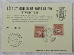Carte Maximum Card France 1946 Fête De L'aviation Saint Brieuc 22 - Avions