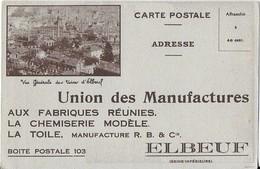 """ELBEUF : Carte Postale Publicitaire Recto Verso Avec Talon Réponse De  """"Union Des Manufactures"""" - Elbeuf"""