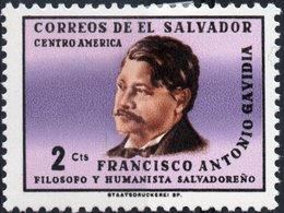 EL SALVADOR, COMMEMORATIVO, FRANCISCO GAVIDIA, 1965, 2 C. FRANCOBOLLO NUOVO (MLH*) Mi. 906,  Scott 761 - El Salvador