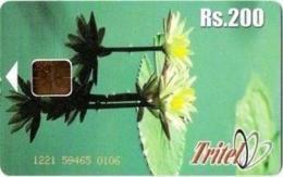 SRI-TRITEL : TRI17 200 Water Flowers Lotus (chip 1) USED - Sri Lanka (Ceylon)