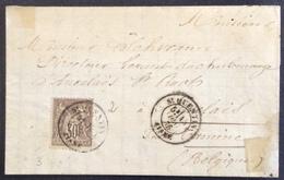 3 Aisne St Quentin Vers Belgique Sage 30c - Postmark Collection (Covers)