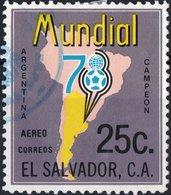 EL SALVADOR, POSTA AEREA, AIRMAIL, SPORT, MONDIALI CALCIO, 1978, 25 C., USATO Mi. 1244,  Scott C430 - El Salvador
