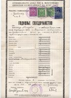 ITALY, OCCUPATION OF MONTENEGRO, WW2, 28.06.1941, SCHOOL REPORT, 4 FISCAL STAMPS, CANCELLED, YUGOSLAV STAMPS USED - Diploma & School Reports