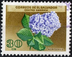 EL SALVADOR, FLORA, FIORI, FLOWERS, HORTENSIA, 1965, 30 C., FRANCOBOLLO USATO Mi. 890,  Scott 754 - El Salvador